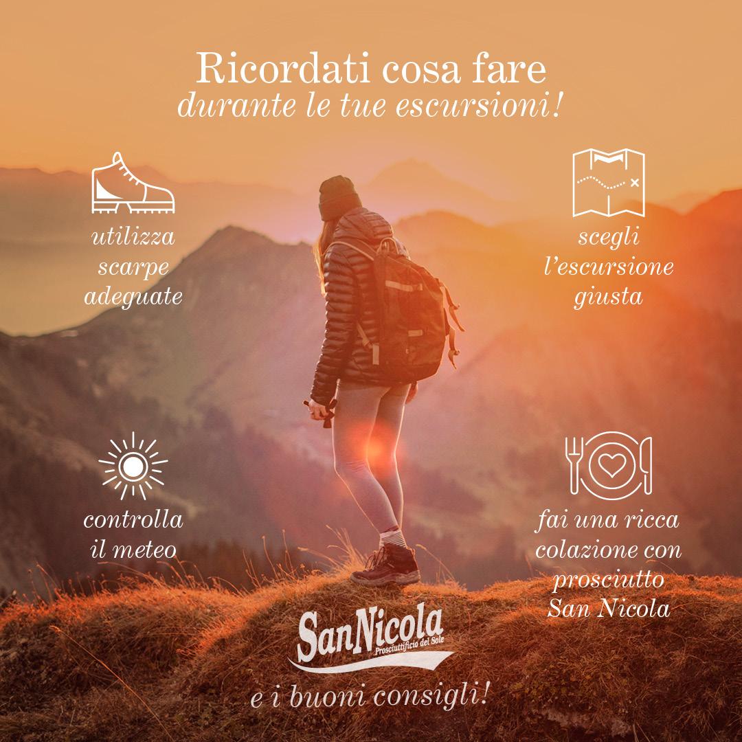 Ricordati cosa fare durante le tue escursioni! Prosciutto San Nicola e ibuoni consigli per l'estate 2020.